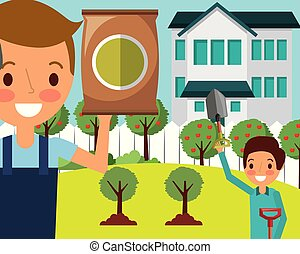 man and boy in the house garden with shovel and fertilizer