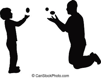 man and boy juggling silhouette vector
