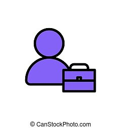 man and brief case colorful icon vector illustration