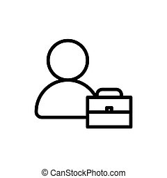 man and brief case line icon vector illustration
