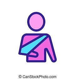 man and broken arm icon vector. Isolated contour symbol illustration
