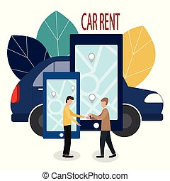 Man and car dealer. Making deals online. Car rent. Vector illustration in flat style. The dealer hands over the keys to the car and the contract.