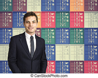 man and cargo background - smiling businessman and colorful...