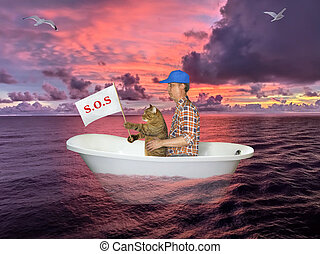 Man and cat in bathtub after shipwreck