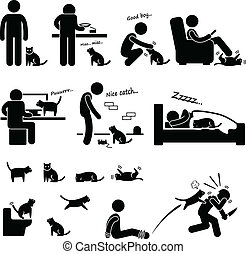 A set of human pictogram representing the deep relationship between a man and his cat.