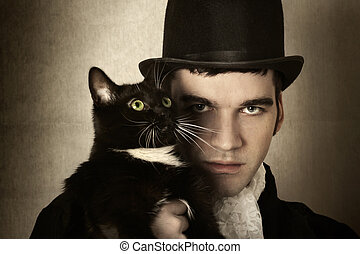Man and cat - Stylized retro portrait of man in top hat and...