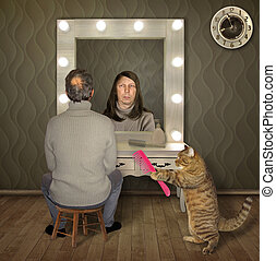 Man and cat with comb