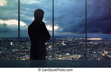 man and city nightlife - businessman thought and city...
