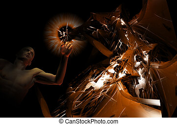 Man and creative energy - Artistic background of a man...