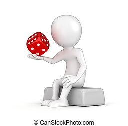 Man and dice. Image with clipping path