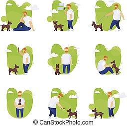 Man and dog on a walk. Vector illustrations set
