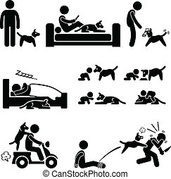 A set of human pictogram representing the deep relationship between a man and his dog.