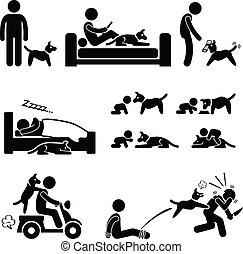 Man and Dog Relationship Pet - A set of human pictogram...