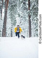 Man and dog run