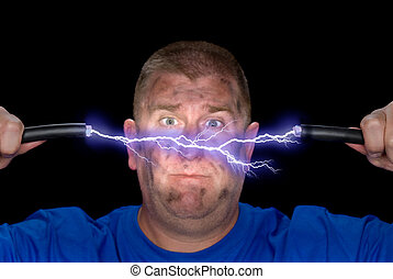 An electrician plays with some live wires, causing an arc of electricity and charring the man's face.