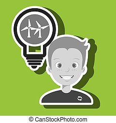 man and environment isolated icon design