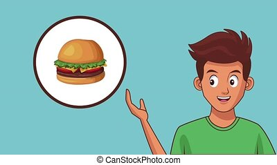 Man and fast food HD animation - Young man and fast food in...