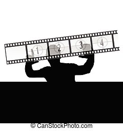 man and film strip vector illustration