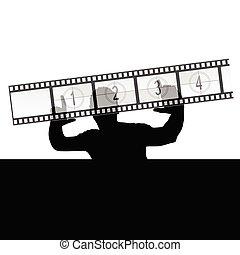 man and film strip vector illustration