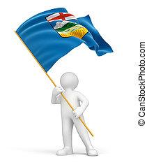 Man and flag of Alberta