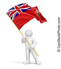 Man and flag of Manitoba