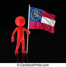 Man and flag of the US state of Georgia. Image with clipping path