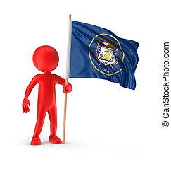 Man and flag US state of Utah
