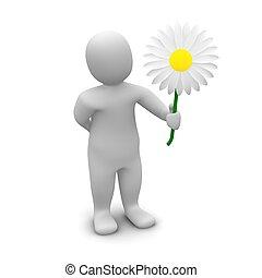Man and flower. 3d rendered illustration.