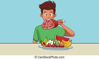 Young man eating healthy food High definition colorful scenes animation