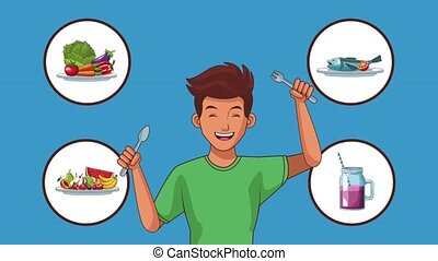 Young man holding forks with food round symbols High definition colorful scenes animation