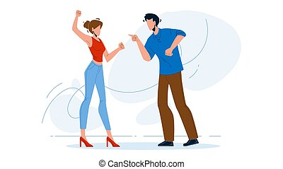 Man And Girl Couple Yelling At Each Other Vector