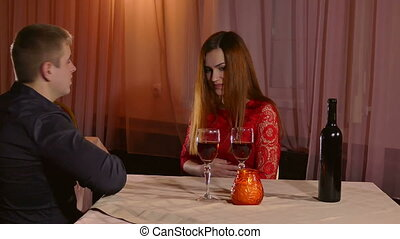 man and girl romance - Woman sick on a date at the...