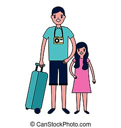man and girl suitcase travel vacations