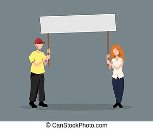 Man and girl with poster. Political event. Protest. Activists in flat style. Isolated image of people with banner. Cartoon characters