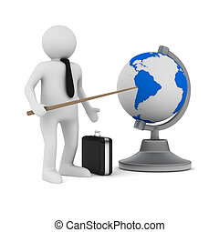 man and globe on white background. Isolated 3D image