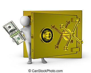 man and gold safe