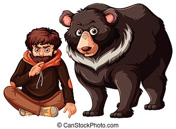 Man and grizzly bear on white background illustration
