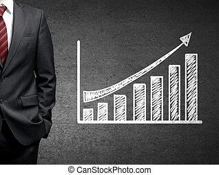 man and growth chart on concrete wall