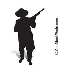 Man and Gun_2 - An abstract vector illustration of a man,...