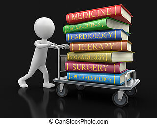 Man and Handtruck Medical textbooks. Image with clipping path.