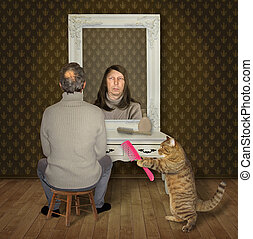 Man and his cat with a comb