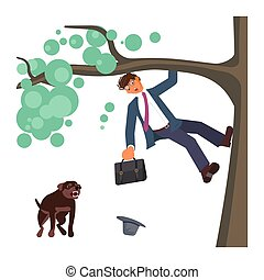 Man climbed a tree fleeing from attack huge aggressive mongrel dog. Bad luck and stressful situations concept. Flat Art Vector illustration