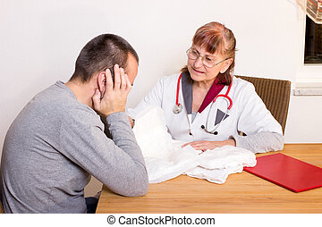 Man and incontinence - A doctor advises a man about...