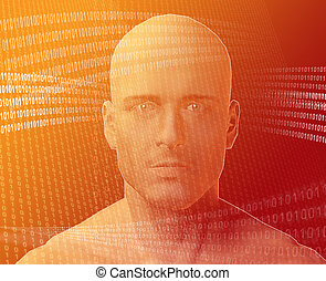 Man and information - A man\\\'s face, surrounding by...