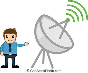 Man and Internet Broadcast Antenna - Drawing Art of...
