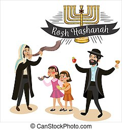 Man and kids girls blowing Shofar horn for the Jewish New Year, Rosh Hashanah holiday Jew in traditional clothes holding red apple and glass with wine, judaism religion vector illustration isolated