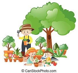 Man and kids planting trees