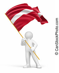 Man and Latvian flag. Image with clipping path