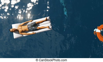Man and Lifebuoy Floating on Sea with Sharks Swimming, zoom...