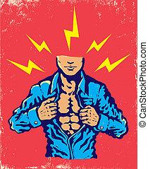 Man and lightning - Retro illustration of man and lightning